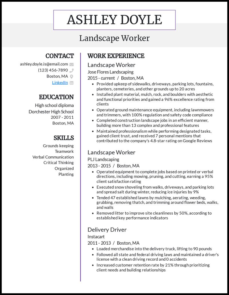 Landscape Worker resume example