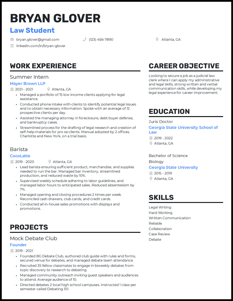 Law Student resume example