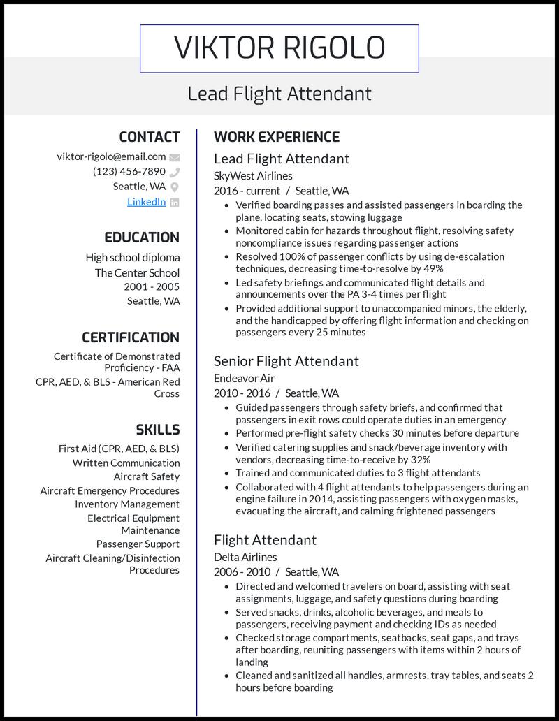 Lead Flight Attendant resume example