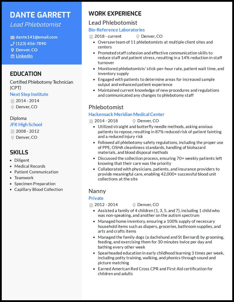 Lead Phlebotomist resume example