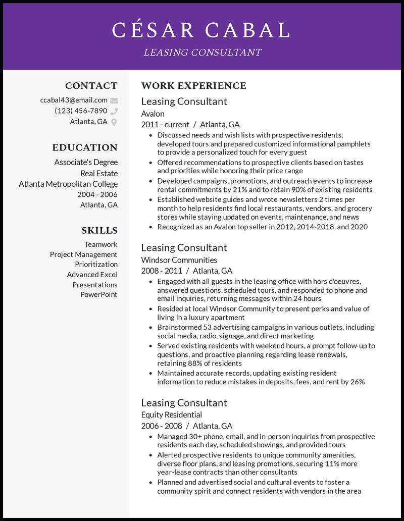 Leasing Consultant resume example