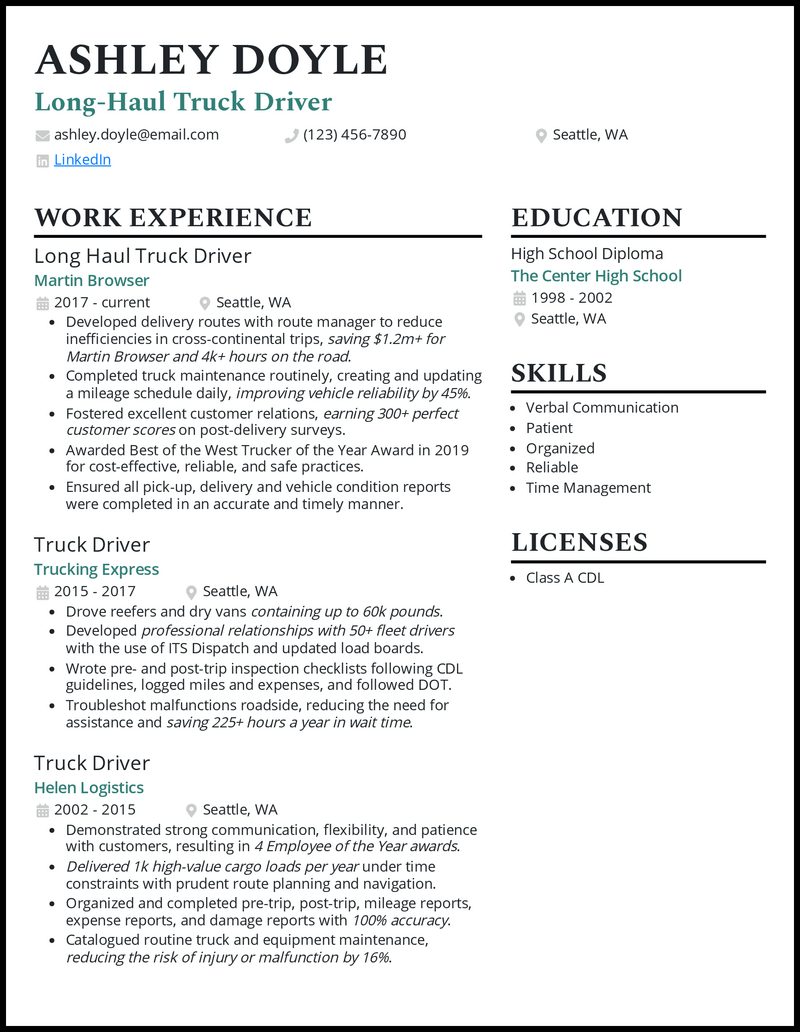 Long Haul Truck Driver resume example