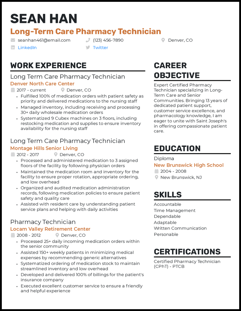 Long Term Care Pharmacy Technician resume example