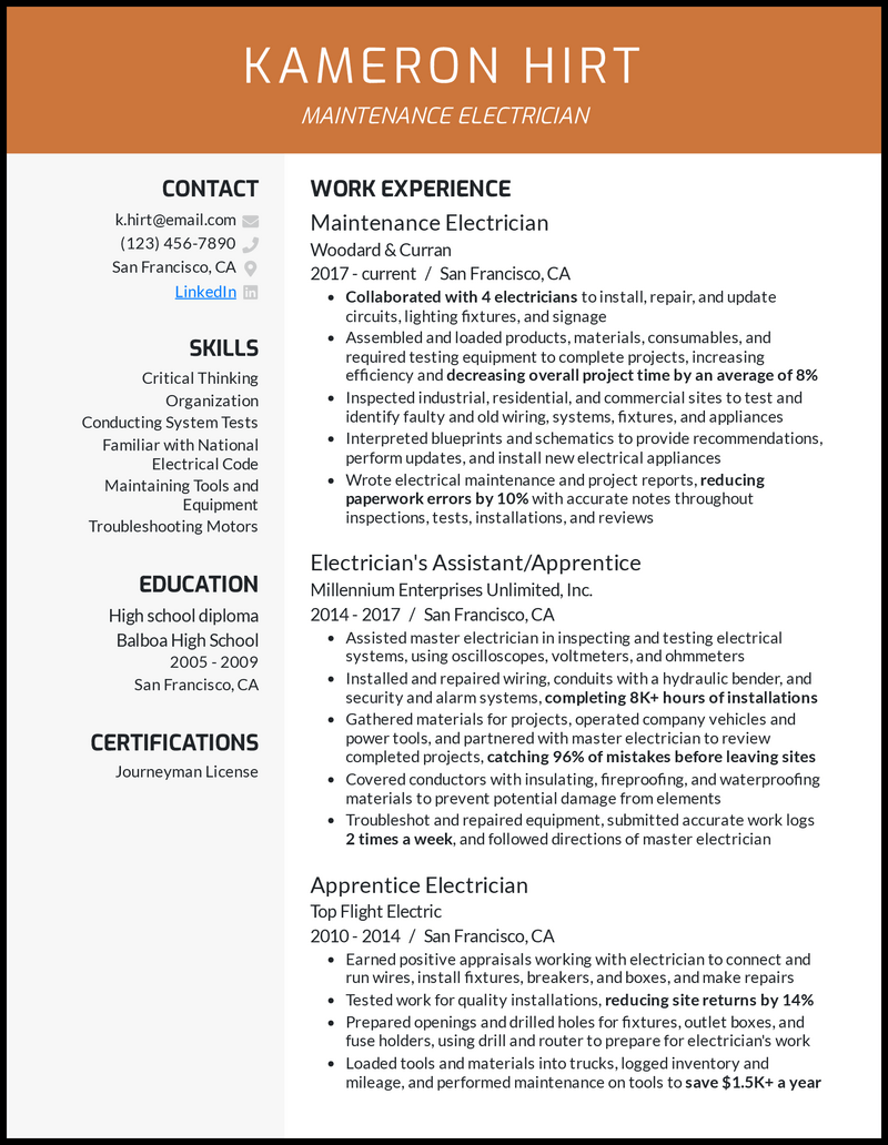 Maintenance Electrician resume example