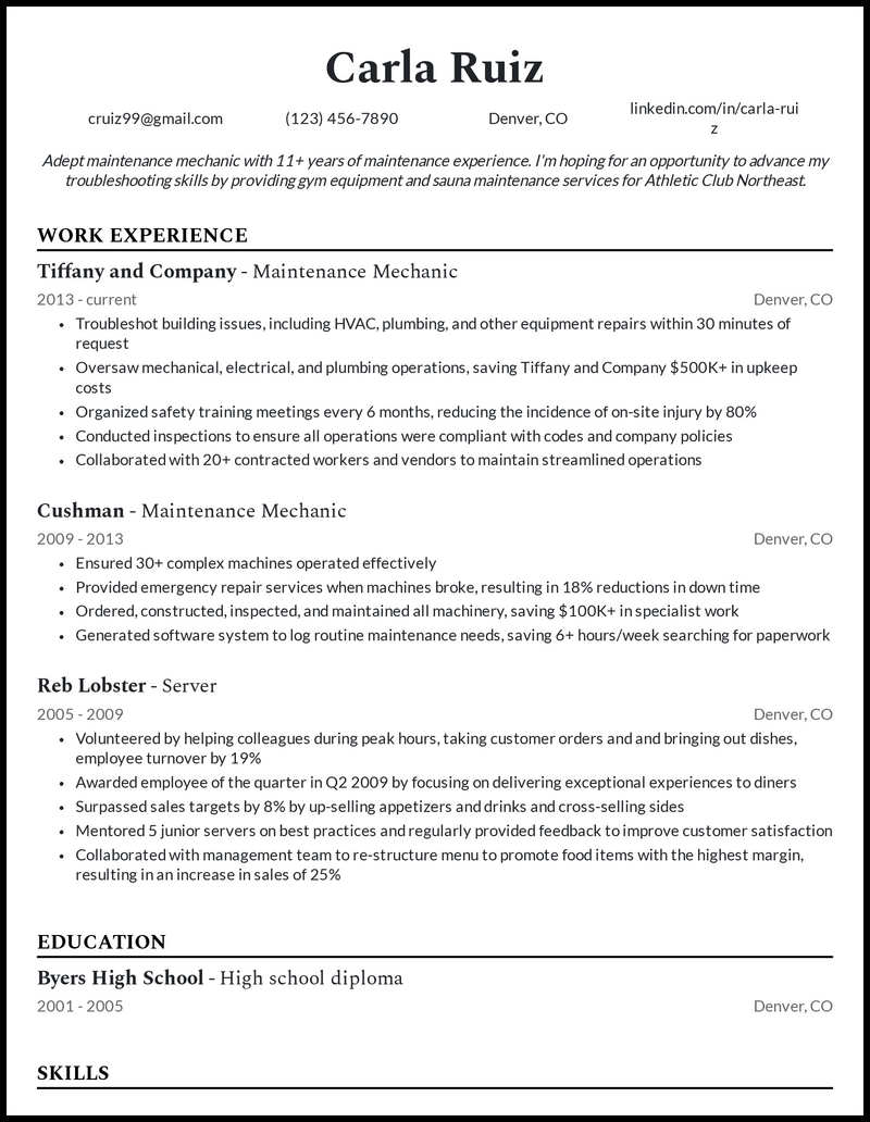 Maintenance Mechanic resume example