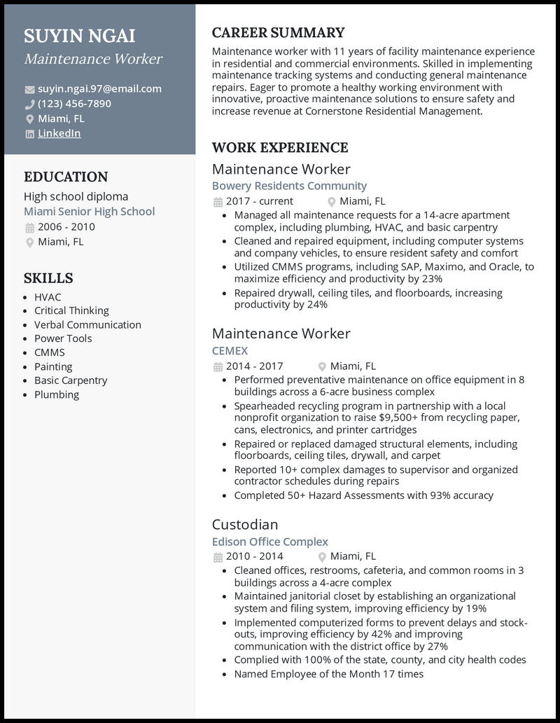 Maintenance Worker resume example