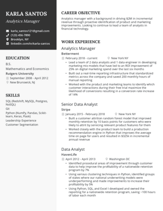 Management resume template 3