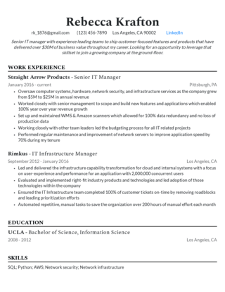 Management resume template 1
