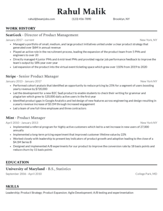 Management resume template 6