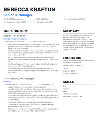 Management resume template 2