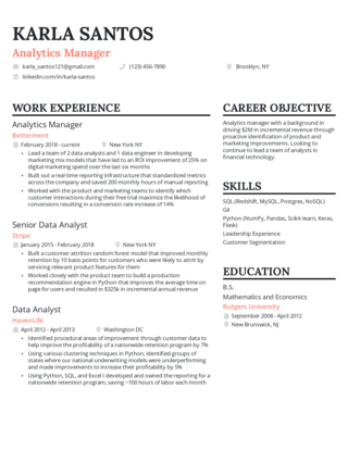 Management resume template 4