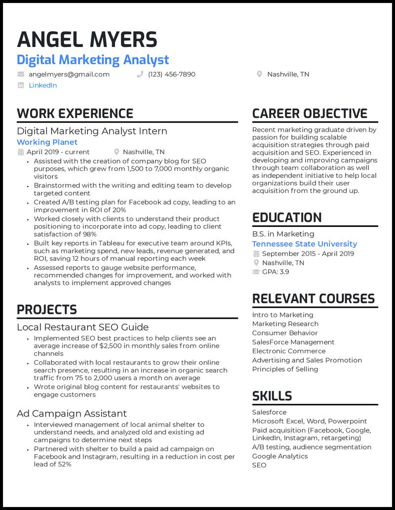 Marketing College Graduate resume example