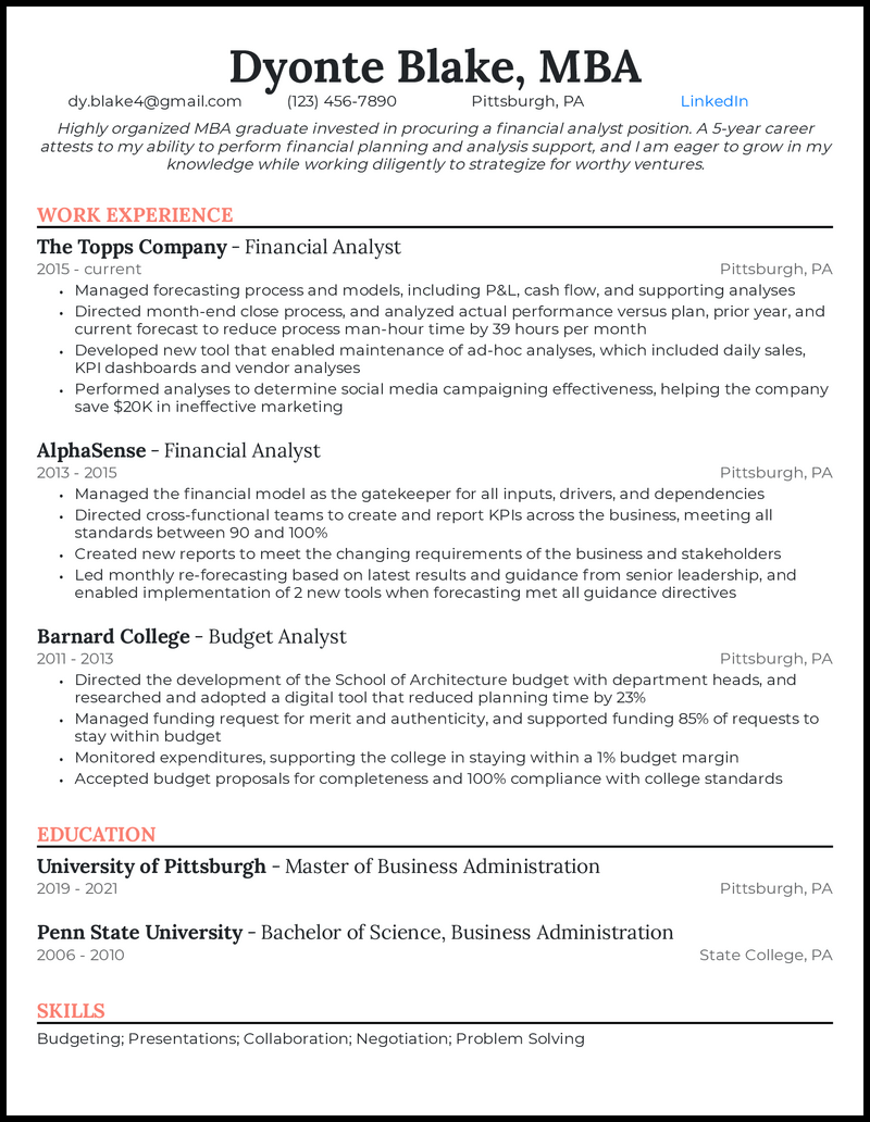 MBA Graduate resume example