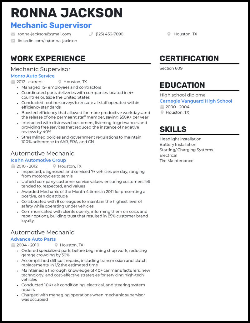 Mechanic Supervisor resume example