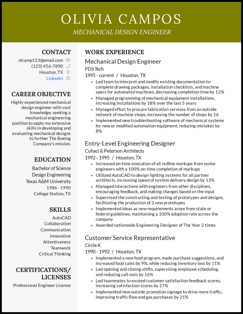 Mechanical Design Engineer resume example