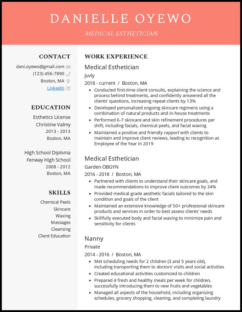 Medical Esthetician resume example
