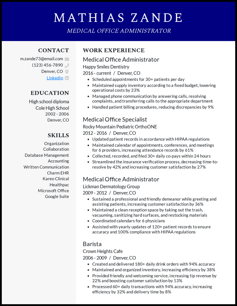 Medical Office Administrator resume example