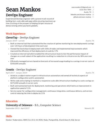 Mid-career resume template 3