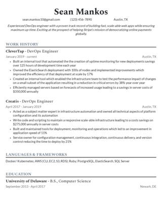 Mid-career resume template 4
