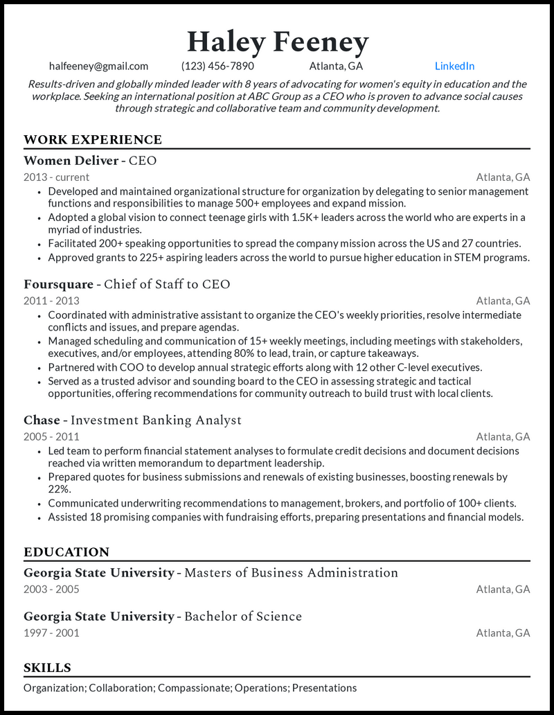 Modern CEO resume example