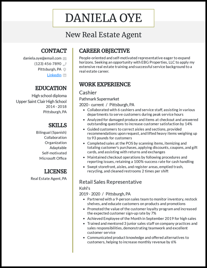 New Real Estate Agent resume example
