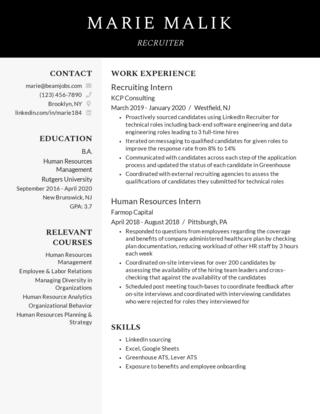 New grad resume template 6