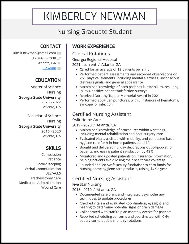 Nursing Grad School resume example