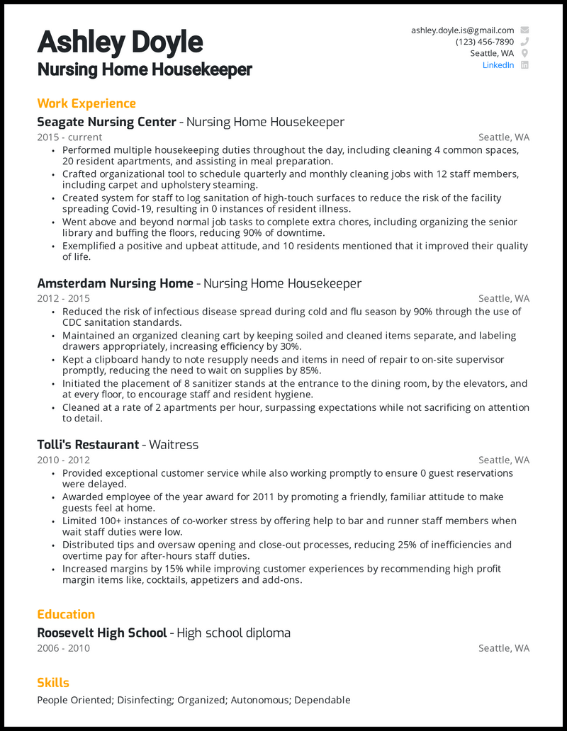 Nursing Home Housekeeping resume example