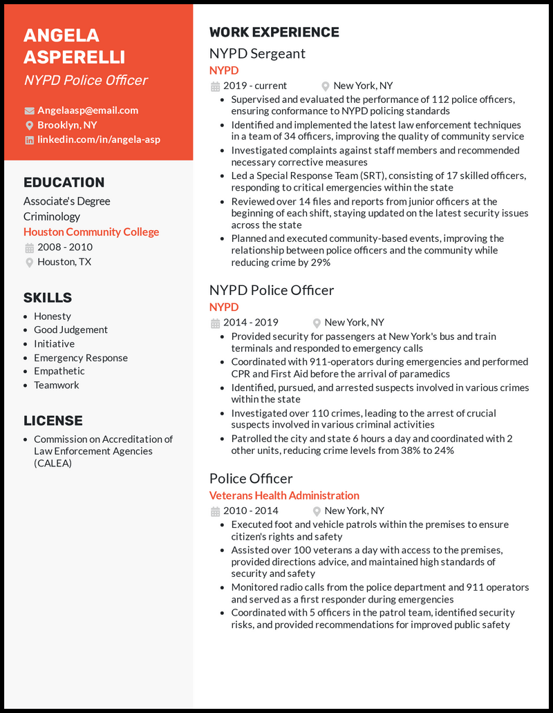NYPD Police Officer resume example