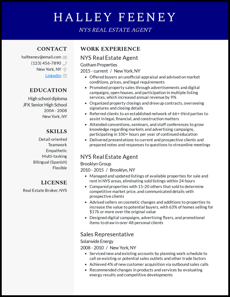 NYS Real Estate Agent resume example