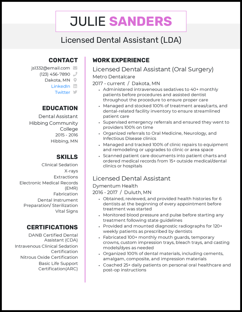 Oral surgery dental assistant resume example