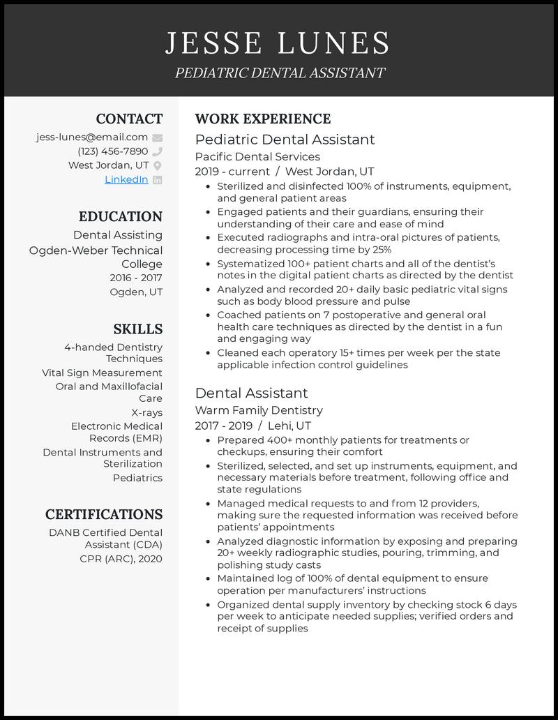 Pediatric dental assistant resume example