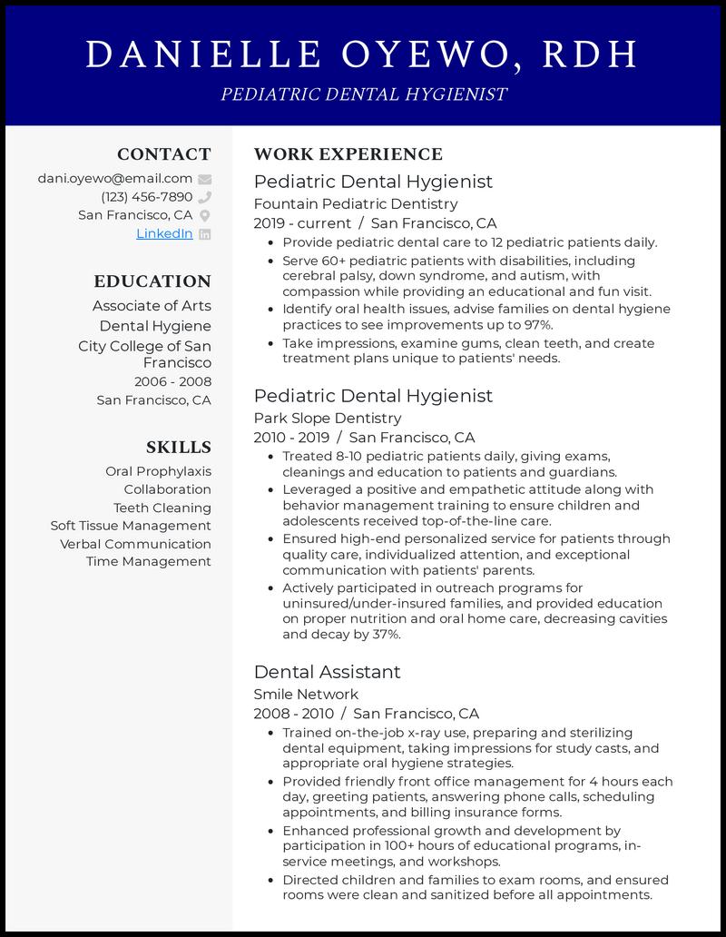 Pediatric Dental Hygienist resume example