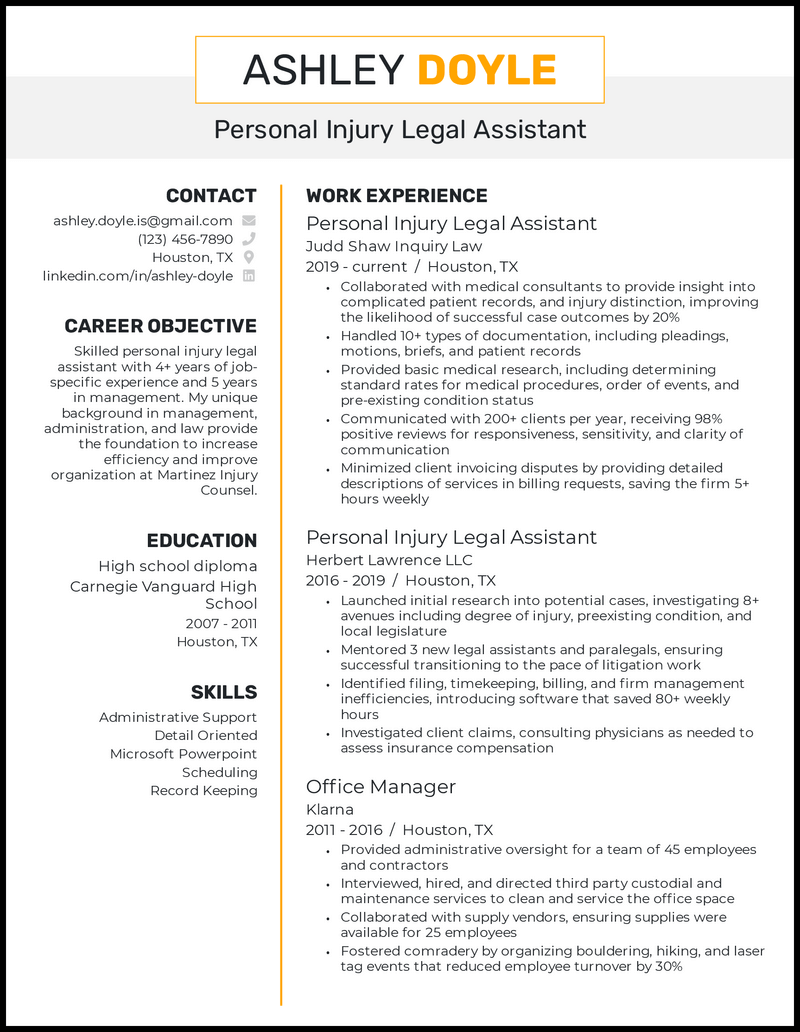 Personal Injury Legal Assistant resume example