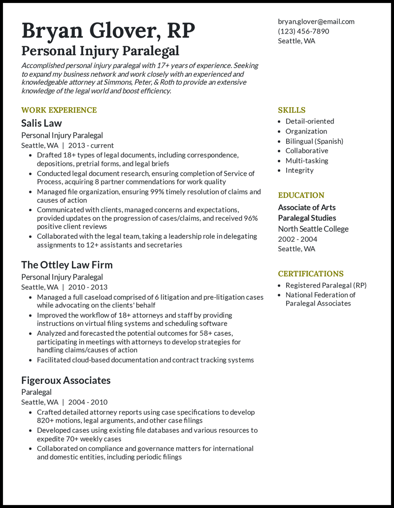 Personal Injury Paralegal resume example