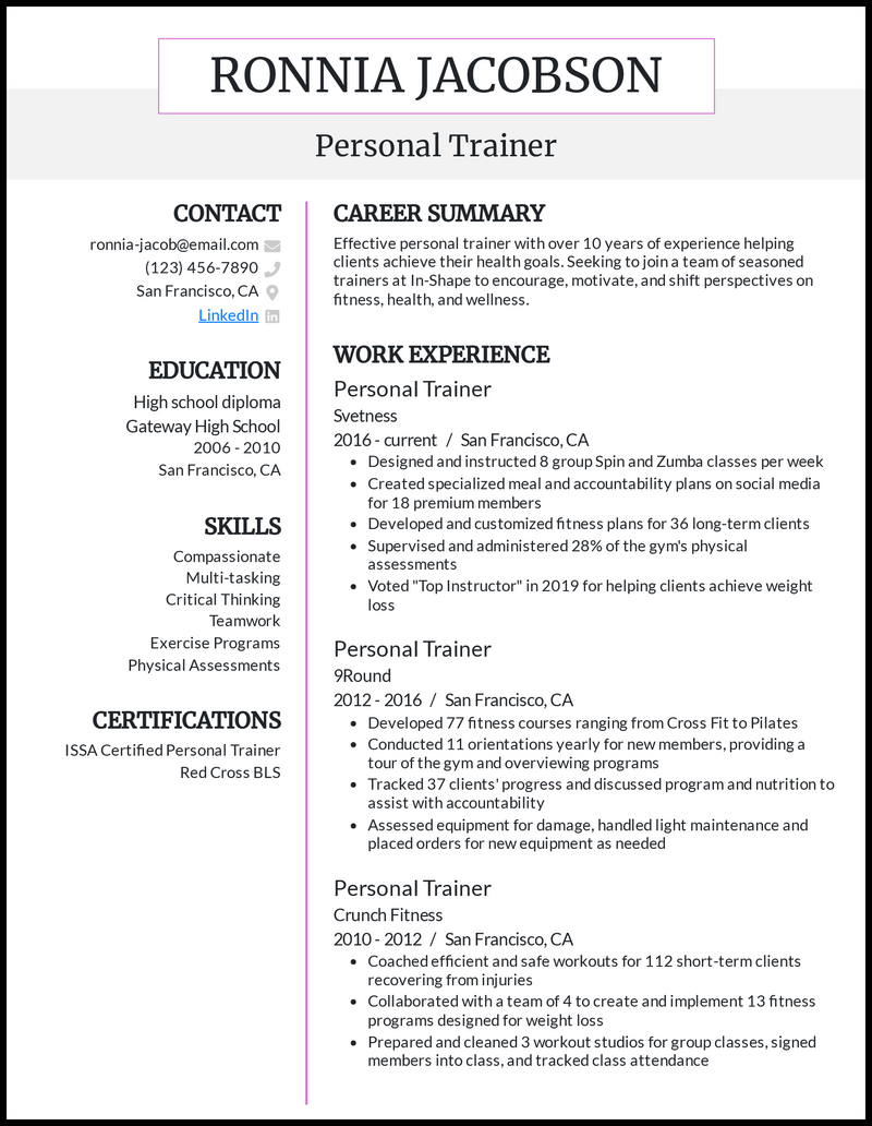 Personal Trainer resume example