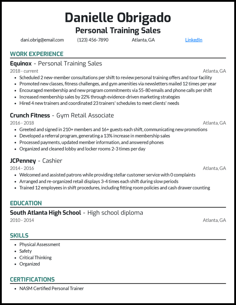 Personal Training Sales resume example