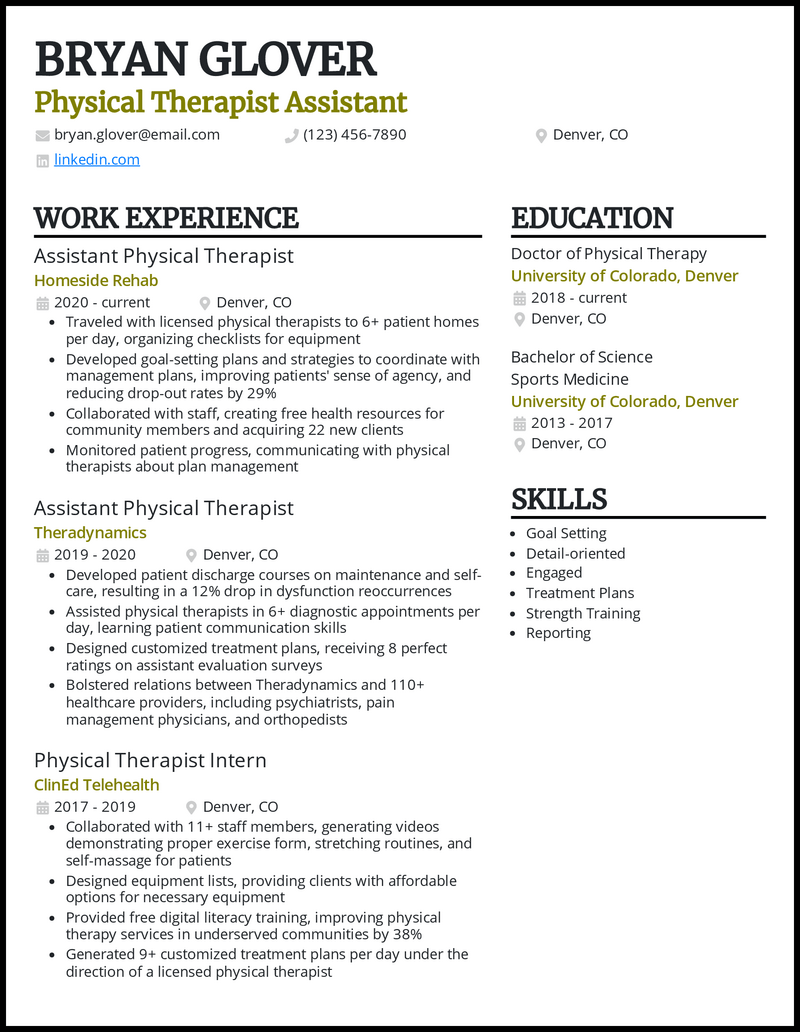 Physical Therapist Assistant resume example