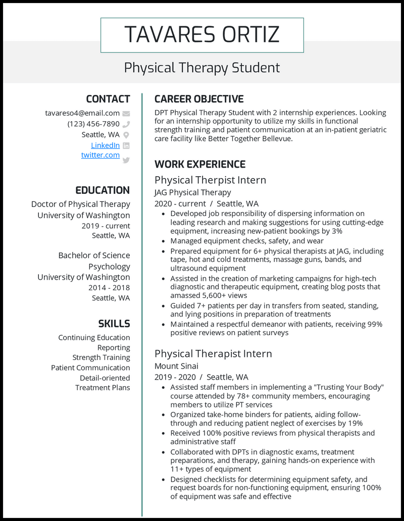 Physical Therapy Student resume example