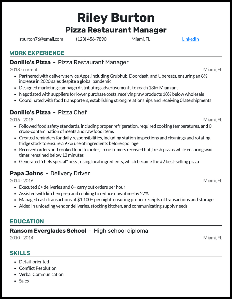 Pizza Restaurant Manager resume example