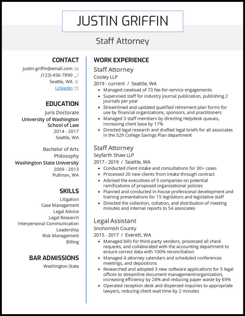 Post Law School resume example