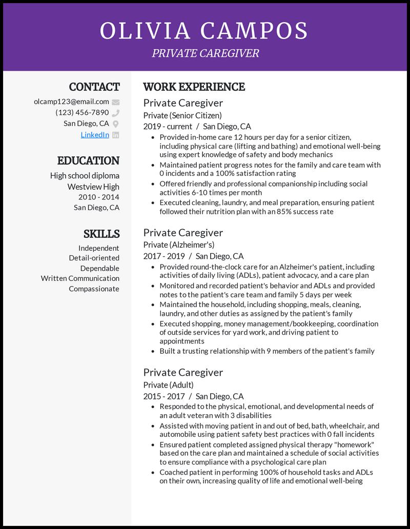 Private Caregiver resume example