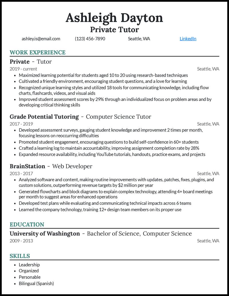 Private Tutor resume example