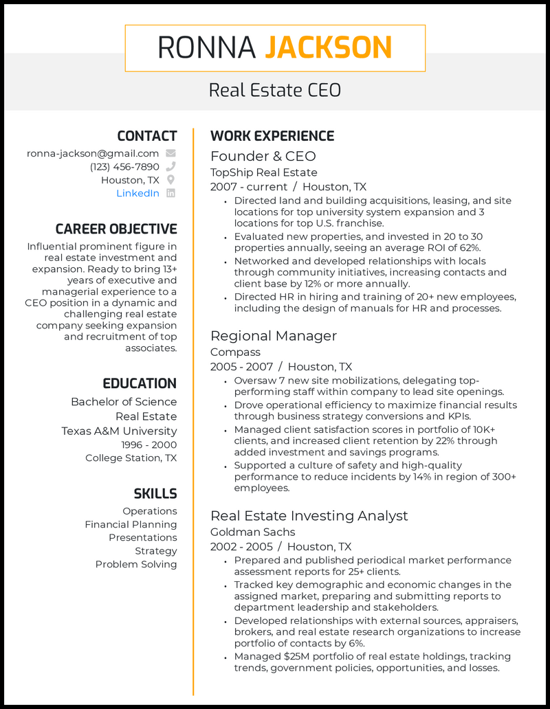 Real Estate CEO resume example