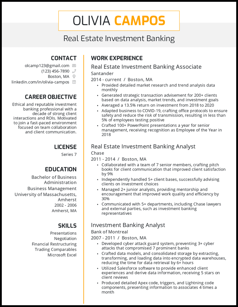 Real Estate Investment Banking resume example