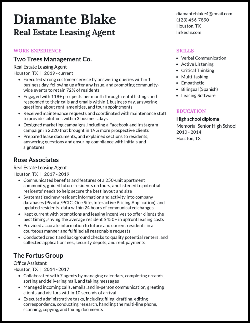 Real Estate Leasing Agent resume example