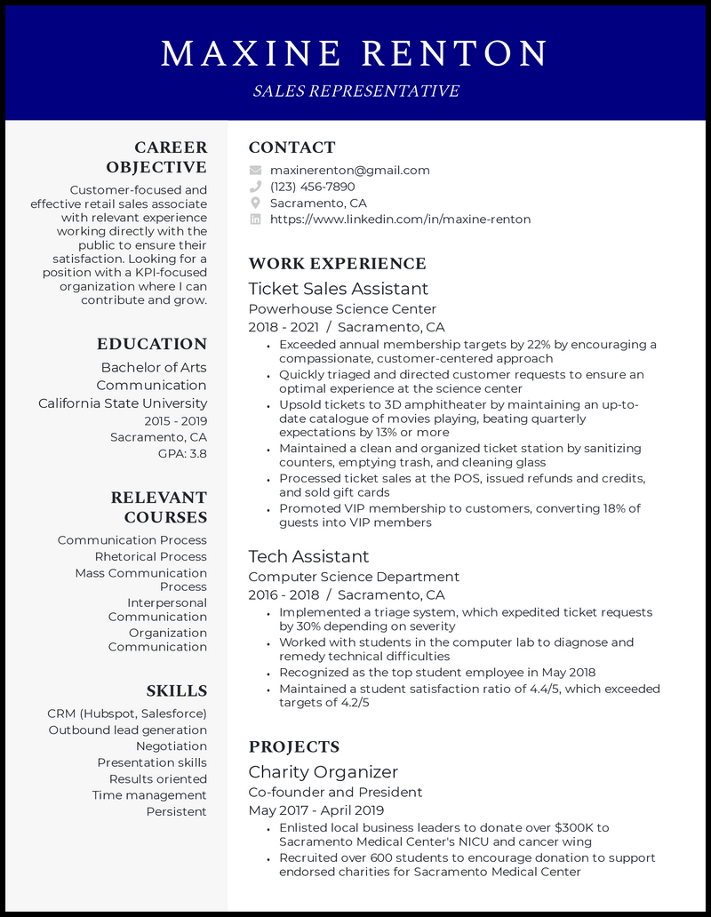 Recent College Graduate resume example