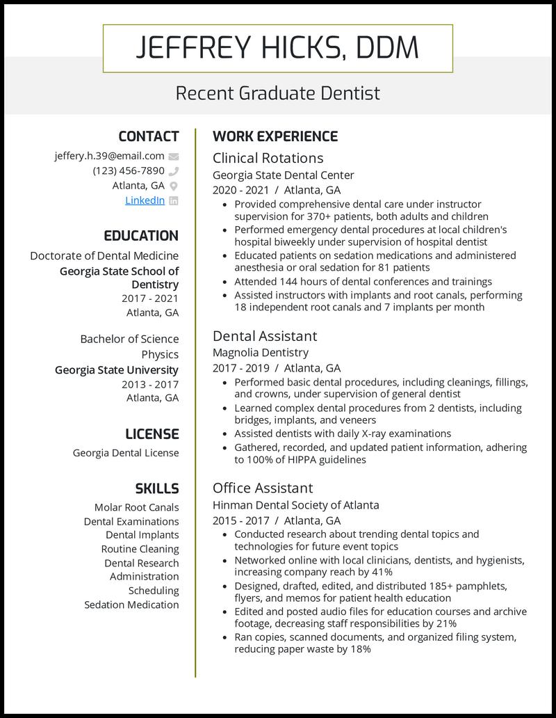 Recent Graduate Dentist resume example