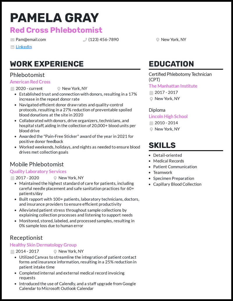 Red Cross Phlebotomist resume example