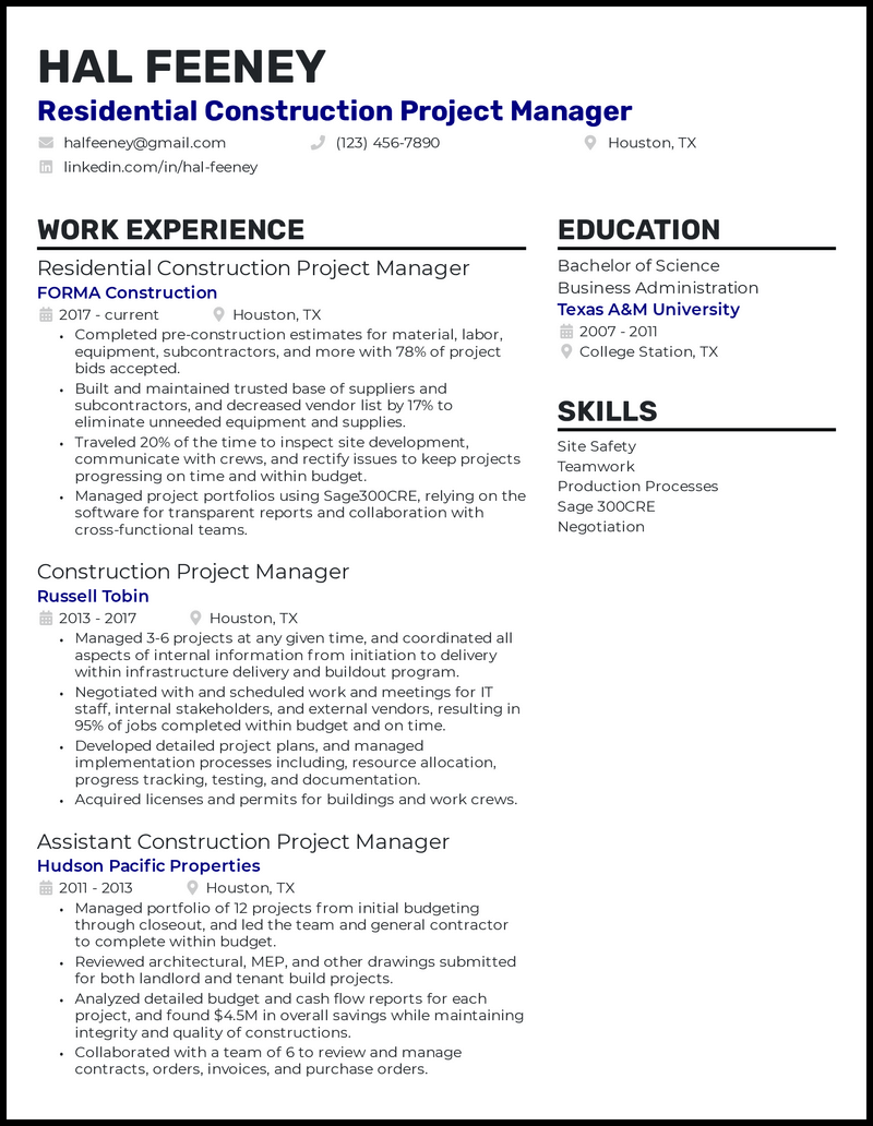 Residential Construction Project Manager resume example